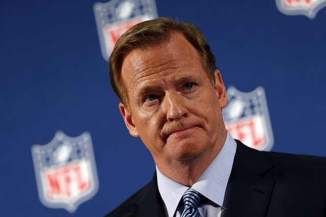 NFL Commissioner Roger Goodell speaks at a news conference to address domestic violence issues and the NFL's Personal Conduct Policy in New York, September 19, 2014. (REUTERS/Mike Segar)
