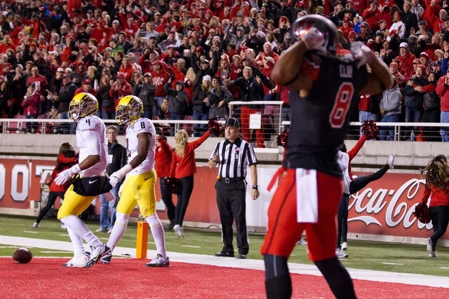 Utah Utes wide receiver Kaelin Clay (8) reacts thinking he scored a touchdown but the ball is live as he dropped it prior to entering the end zone.  The Oregon Ducks returned the fumble for a touc ...