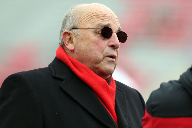 Nov 15, 2014; Madison, WI, USA; Wisconsin athletic director Barry Alvarez before the start of the Wisconsin Badgers game with the Nebraska Cornhuskers at Camp Randall Stadium. (Mary Langenfeld-USA ...