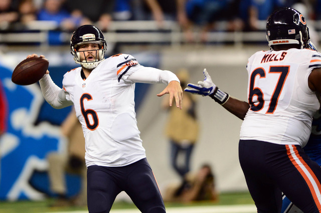 Chicago Bears quarterback Jay Cutler (6) throws a pass during the fourth quarter against the Detroit Lions  at Ford Field. (Andrew Weber-USA TODAY Sports)