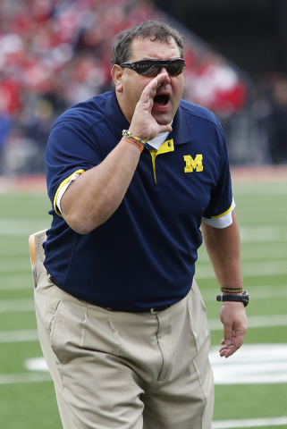 Nov 29, 2014; Columbus, OH, USA; Michigan Wolverines head coach Brady Hoke during third quarter action at Ohio Stadium. Ohio State won the game 42-28. (Joe Maiorana-USA TODAY Sports)