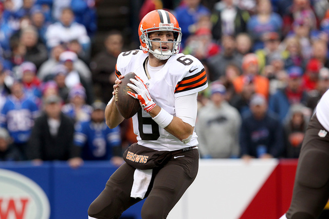 Nov 30, 2014; Orchard Park, NY, USA; Cleveland Browns quarterback Brian Hoyer (6) prepares to throw the ball against the Buffalo Bills during the first half at Ralph Wilson Stadium. (Timothy T. Lu ...