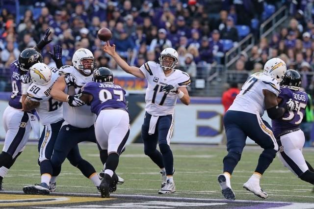 Nov 30, 2014; Baltimore, MD, USA; San Diego Chargers quarterback Philip Rivers (17) passes against the Baltimore Ravens at M&T Bank Stadium. (Mitch Stringer-USA TODAY Sports)