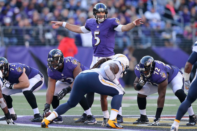 Baltimore Ravens quarterback Joe Flacco (5) runs the offense against the San Diego Chargers at M&T Bank Stadium. (Mitch Stringer-USA TODAY Sports)