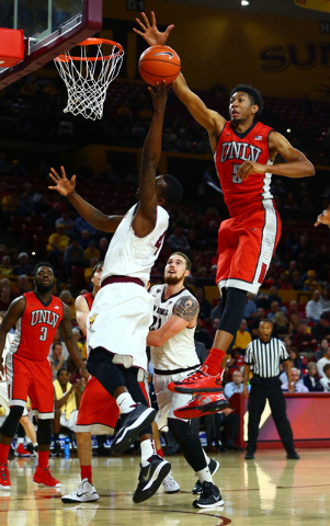 UNLV Runnin' Rebels forward Christian Wood (5) blocks the shot of Arizona State Sun Devils guard Gerry Blakes (4) in the second half at Wells-Fargo Arena. Sun Devils defeated the Runnin' Rebels 77 ...