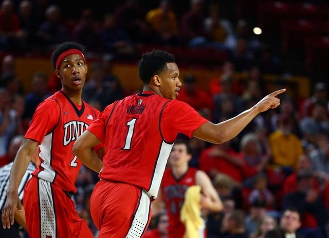 UNLV Runnin' Rebels guard Rashad Vaughn (1) reacts as he celebrates a play alongside teammate Patrick McCaw (2) in the first half against the Arizona State Sun Devils at Wells-Fargo Arena. Sun Dev ...