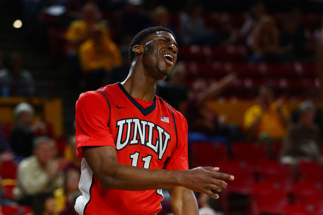 UNLV Runnin' Rebels forward Goodluck Okonoboh (11) reacts to a call in the first half against the Arizona State Sun Devils at Wells-Fargo Arena. Sun Devils defeated the Runnin' Rebels 77-55. (Mark ...