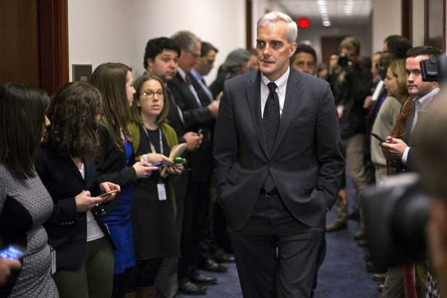 White House Chief of Staff Denis McDonough arrives to attend a U.S. House Democratic Caucus meeting at the U.S. Capitol in Washington Dec. 11, 2014. With the threat looming of a midnight governmen ...