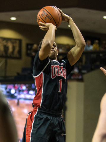 UNLV Rebels guard Rashad Vaughn (1) shoots during the first half against the South Dakota Coyotes at Sanford Pentagon in Sioux Falls, S.D., on Saturday, Dec. 13, 2014. (Brace Hemmelgarn-USA TODAY  ...