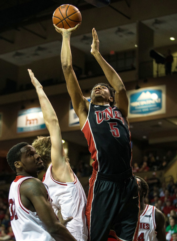 UNLV Rebels forward Christian Wood (5) shoots during the first half against the South Dakota Coyotes at Sanford Pentagon in Sioux Falls, S.D., on Saturday, Dec. 13, 2014. (Brace Hemmelgarn-USA TOD ...