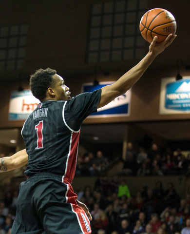 UNLV Rebels guard Rashad Vaughn (1) shoots during the second half against the South Dakota Coyotes at Sanford Pentagon. UNLV defeated South Dakota  75-61 in Sioux Falls on Saturday, Dec. 13, 2014. ...