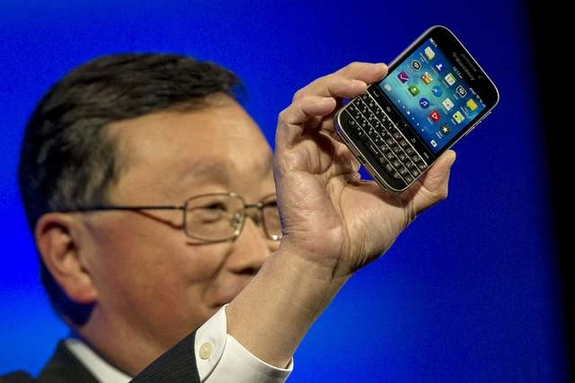 BlackBerry Chief Executive Officer John Chen introduces the new Blackberry Classic smartphone during the launch event in New York, December 17, 2014. BlackBerry Ltd launched its long-awaited Class ...