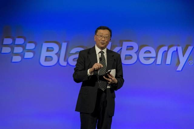 BlackBerry Chief Executive John Chen speaks during the launch event for the new Blackberry Classic smartphone in New York, December 17, 2014. (REUTERS/Brendan McDermid)