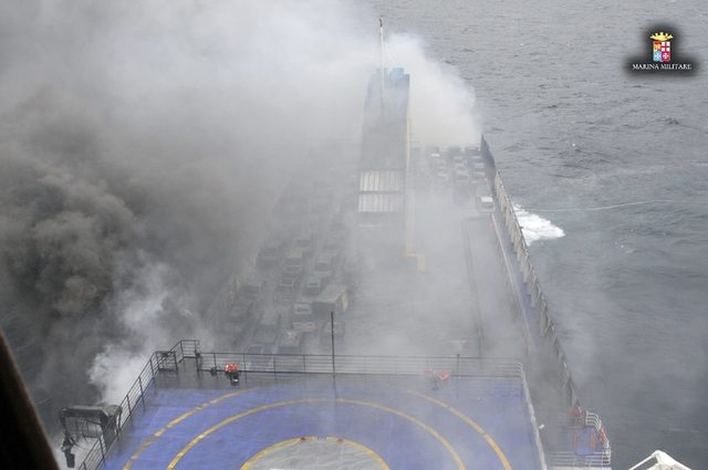 The car ferry Norman Atlantic burns in waters off Greece December 28, 2014 in this handout photo provided by Marina Militare. Italian and Greek helicopter crews prepared to work through the night  ...