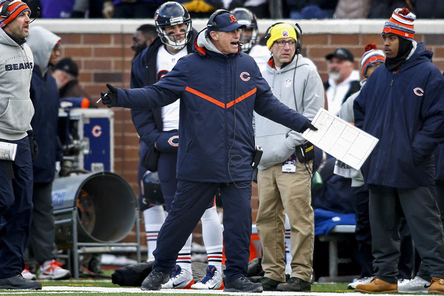 Dec 28, 2014; Minneapolis, MN, USA; Chicago Bears head coach Marc Trestman questions the lack of a call by officials on a play with the Minnesota Vikings in the fourth quarter at TCF Bank Stadium. ...