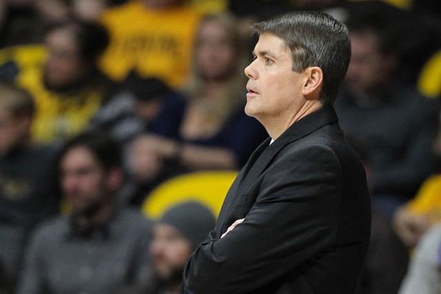 UNLV Runnin' Rebels head coach Dave Rice reacts against the Wyoming Cowboys during the first half at Arena-Auditorium. The Cowboys defeated the Runnin' Rebels 76-71.  (Troy Babbitt-USA TODAY Sports)