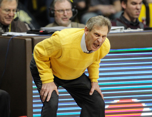 Dec 31, 2014; Laramie, WY, USA; Wyoming Cowboys head coach Larry Shyatt reacts against the UNLV Runnin' Rebels during the second half at Arena-Auditorium. The Cowboys defeated the Runnin' Rebels 7 ...