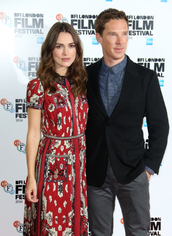 British actors Benedict Cumberbatch and Keira Knightley pose for photographers during the photo call of the film The Imitation Game, at the Corinthia Hotel in central London, which will open the L ...