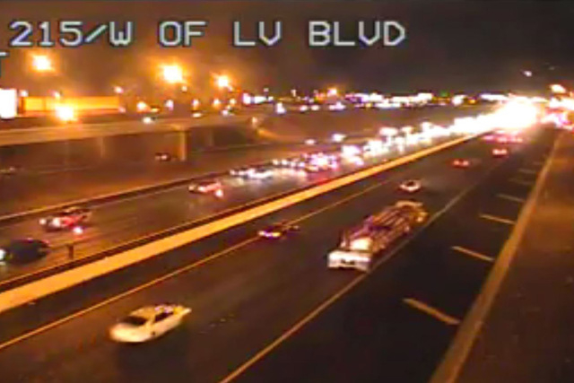 A four-vehicle crash is causing delays on the 215 Southern Beltway, west of Las Vegas Boulevard, according to Nevada Highway Patrol. (Courtesy RTC FAST Cameras)