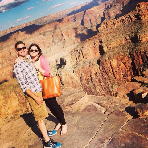 In this Oct. 21, 2014, file photo provided by TheBrittanyFund.org, Brittany Maynard and her husband Dan Diaz pose at the Grand Canyon National Park in Arizona. (AP Photo/TheBrittanyFund.org, File)