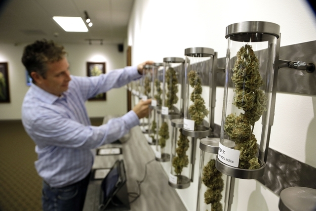 In this Wednesday, Nov. 5, 2014 photo, Shane McKee, co-founder of Shango Premium Cannabis medical marijuana dispensary, pulls a sample from their display of cannabis flowers in Portland, Ore. Oreg ...
