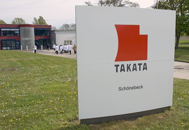Journalists visit Takata Ignition Systems in Schoenebeck, Germany, April 17, 2014. Japan's Takata Corp. refused to comply with a U.S. government demand for an expanded recall of its air bags that  ...