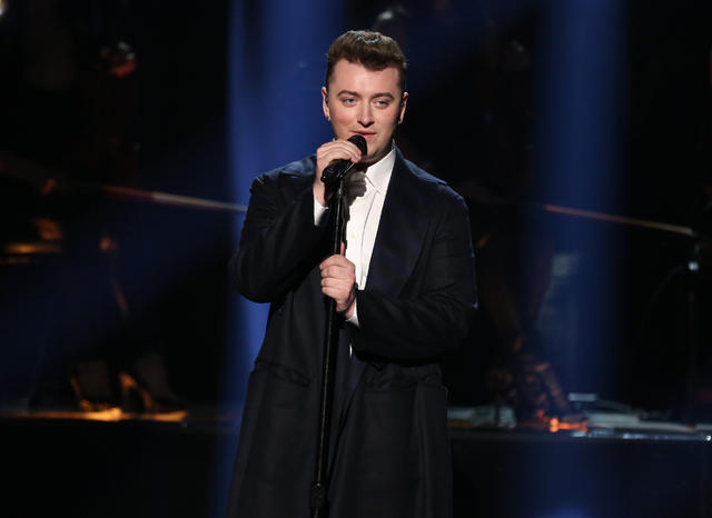 """Sam Smith performs on stage at the 42nd annual American Music Awards at Nokia Theatre L.A. Live in Los Angeles, Nov. 23, 2014. Smith received Grammy nominations for Record of the Year for """"Stay  ..."""