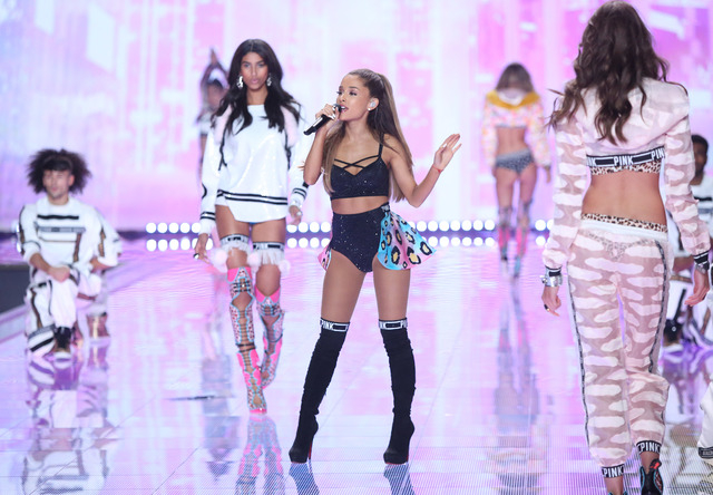 """Singer Ariana Grande performs at the Victoria's Secret fashion show in London, Tuesday, Dec. 2, 2014. Grande received a Grammy nomination for pop vocal album for """"My Everything"""" on Friday, Dec ..."""