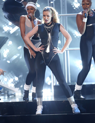 """Iggy Azalea performs at the 42nd annual American Music Awards at Nokia Theatre L.A. Live in Los Angeles, Nov. 23, 2014. Azalea received a Grammy nomination for Record of the Year for """"Fancy"""" o ..."""