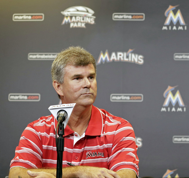 In this Sept. 29, 2013, file photo, Miami Marlins general manager Dan Jennings is shown during a news conference in Miami. Dan Jennings traded Dan Jennings. On the final day of the winter meetings ...