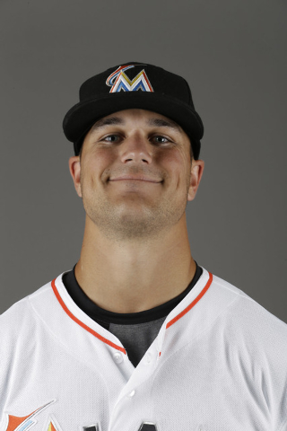 This is a 2014, file photo showing pitcher Dan Jennings of the Miami Marlins baseball team. Dan Jennings traded Dan Jennings. On the final day of the winter meetings, the Miami Marlins sent Jennin ...