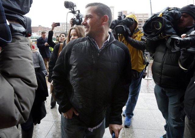 Boston Marathon bombing victim Marc Fucarile arrives at federal court in Boston Thursday, Dec. 18, 2014, where bombing suspect Dzhokhar Tsarnaev is scheduled for a final hearing before his trial b ...