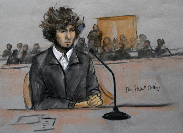 In this courtroom sketch, Boston Marathon bombing suspect Dzhokhar Tsarnaev is depicted sitting in federal court in Boston Thursday, Dec. 18, 2014, for a final hearing before his trial begins in J ...
