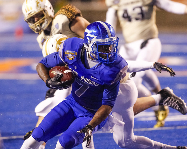 Air Force wide receiver Garrett Brown (7) runs the ball during the second half of the Famous Idaho Potato Bowl NCAA college football game against Western Michigan in Boise, Idaho, on Saturday, Dec ...