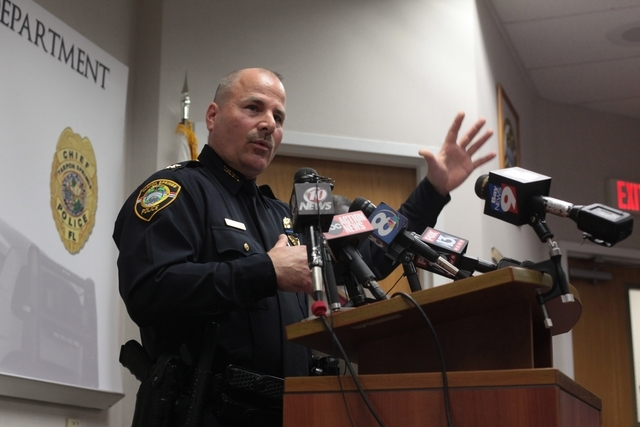 Tarpon Springs Police Department Chief Robert Kochen  speaks during a news conference regarding the police shooting in Tarpon Springs, Fla. on Sunday, Dec. 21, 2014. The Tarpon Springs Police Depa ...