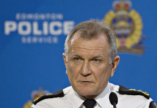 Edmonton City Police Chief Rod Knecht speaks about multiple homicides that took place at different scenes over night in Edmonton, Alberta, Tuesday, Dec. 30, 2014. Police have confirmed the deaths  ...