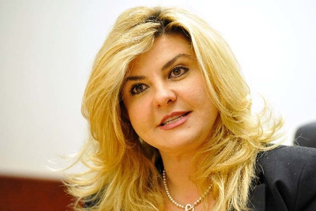 Michele Fiore, Republican candidate for Assembly District 4, speaks with the Review-Journal editorial board on Oct. 10.