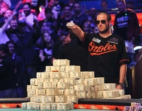 Greg Merson celebrates after winning the World Series of Poker No-Limit Hold'em Main Event in the Penn & Teller Theater at the Rio on Oct. 30. (Review-Journal)