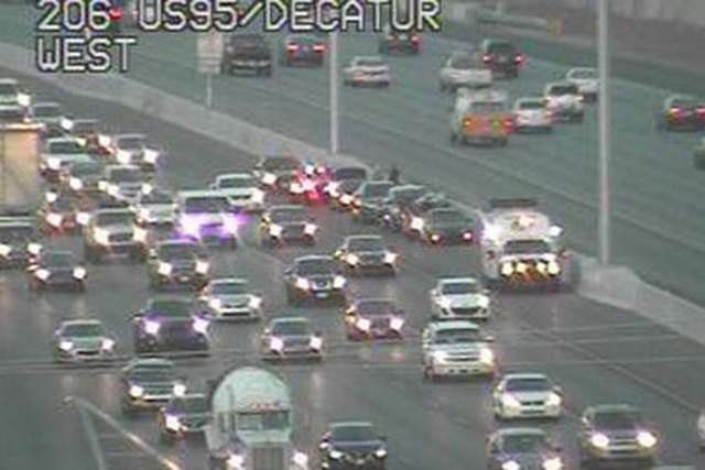 Accidents on southbound U.S. Highway 95 at Decatur and Valley View Boulevards are causing traffic delays Tuesday morning. (Courtesy/RTC FAST Cameras)