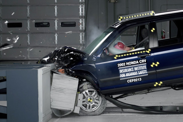This undated file photo provided by the Insurance Institute for Highway Safety shows a crash test of a 2002 Honda CR-V, one of the models subject to a recall to repair faulty air bags. Honda on We ...