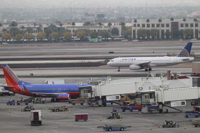 In the spirit of helping warriors who fly, two airlines are adding flights at McCarran International Airport. (Erik Verduzco/Las Vegas Review-Journal)