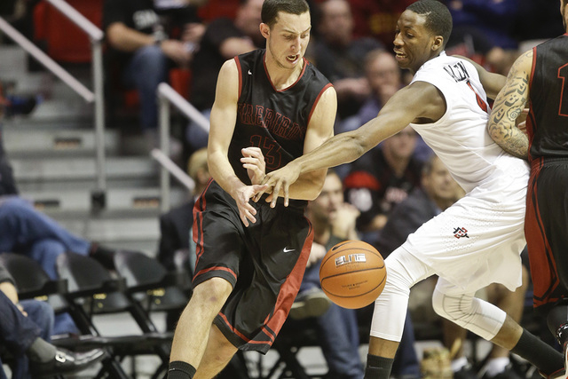 San Diego State guard Dakarai Allen knocks the ball loose from St. Katherine guard Alex Perez for one of San Diego State's 22 steals during the first half of an NCAA college basketball game on Fri ...
