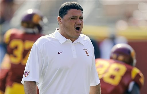 Ed Orgeron was coach at the University of Mississippi from 2005 to 2007, going 10-25. (AP Photo/Gus Ruelas, File)