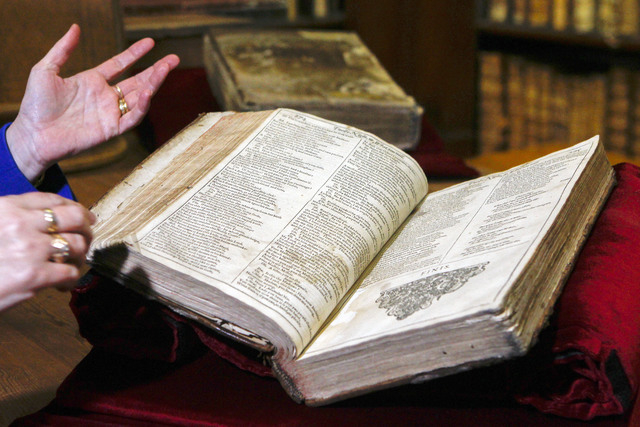 The newly discovered Shakespeare's original first folio is seen in the Saint-Omer library, northern France, Wednesday, Nov. 26, 2014.  The accidental discovery in the small library in northern Fra ...