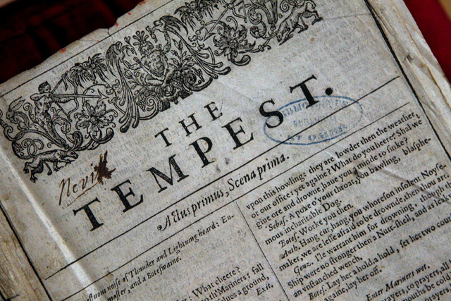 A page of the newly discovered Shakespeare's original first folio is seen in Saint-Omer, northern France, Wednesday, Nov. 26, 2014. The accidental discovery in the small library in northern France ...