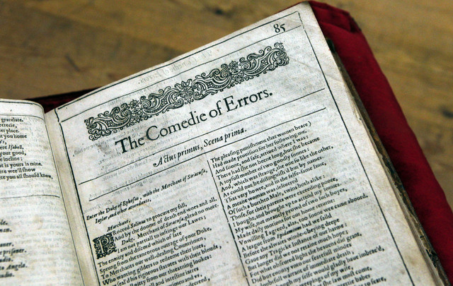 A page of the newly discovered Shakespeare's original first folio is seen in the Saint-Omer library, northern France, Wednesday, Nov. 26, 2014. The accidental discovery in the small library in nor ...