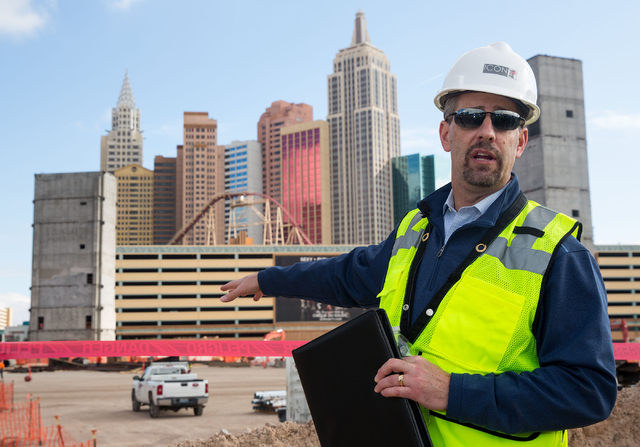 Rob Stephens, with ICON Venue Group and the project manager for the MGM-AEG arena site, talks with the media about progress at the 650,000-square-foot arena and event center construction site Thur ...
