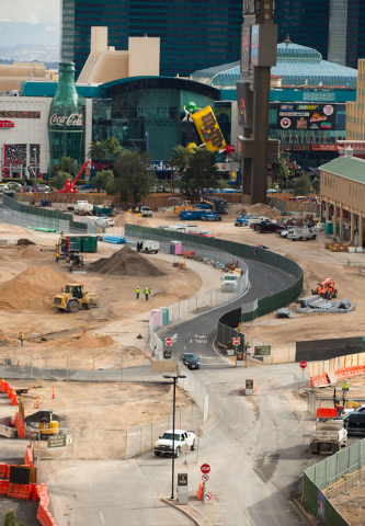 A 2-acre park plaza entrance from the Strip leading to the MGM-AEG arena site is under construction Thursday, Dec. 18, 2014. (Samantha Clemens-Kerbs/Las Vegas Review-Journal)