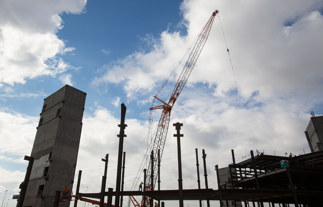 Construction continues at the MGM-AEG arena site, located on 16 acres west of the New York-New York parking garage, Thursday, Dec. 18, 2014. The 650,000-square-foot arena and event center is a $37 ...