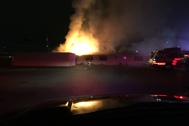 A fire in the 600 block of Jackson Avenue broke out at an abandoned building in the Las Vegas valley. Courtesy (Tim Szymanski, Las Vegas Fire & Rescue)